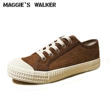 Maggie's Walker Women Fashion Canvas Casual Shoes Lacing Platform Out-door Corduroy Shoes Size 35-40