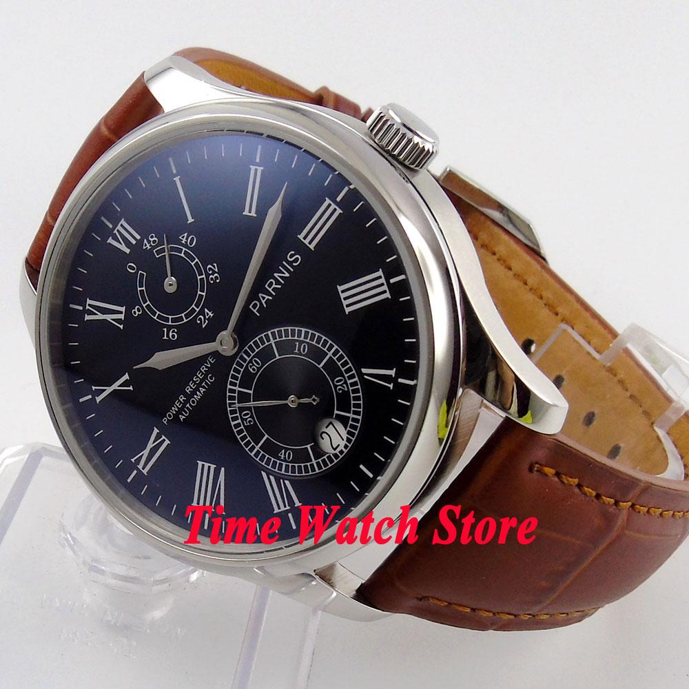 Parnis 43mm black dial Roman Numerals Power reserve black Leather Strap ST2542 Automatic movement Men's watch 198 цена и фото