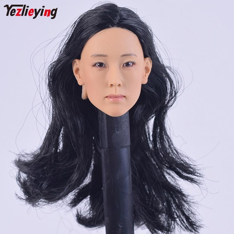 "1//6 KUMIK Female Head Sculpt Model Black Long Hair F 12/"" Action Figure Body Toy"