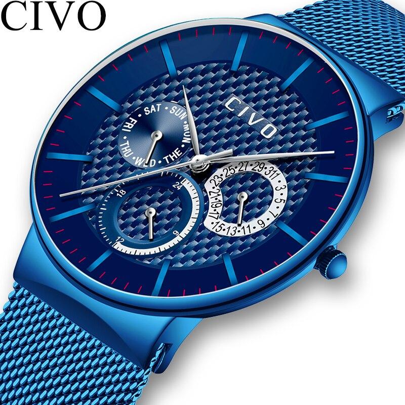 Reloj militar deportivo para hombre reloj de fecha cronógrafo resistente al agua para hombre reloj de malla de acero inoxidable azul-in Relojes deportivos from Relojes de pulsera    1