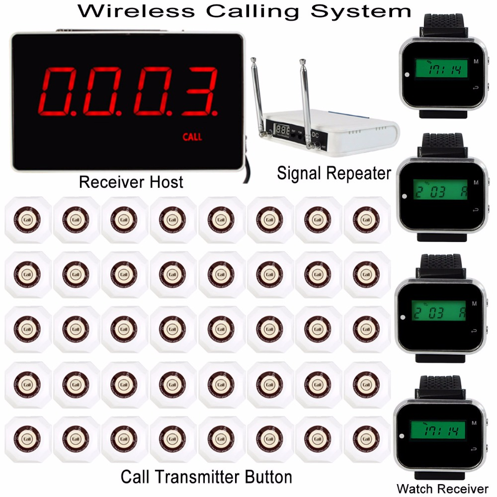 Wireless Restaurant Pager Calling System With Receiver Host+4pcs Watch Receiver+Signal Repeater+40pcs Call Transmitter F3293B2 restaurant pager wireless calling system 15pcs call transmitter button 3pcs watch receiver 433mhz catering equipment f3306q