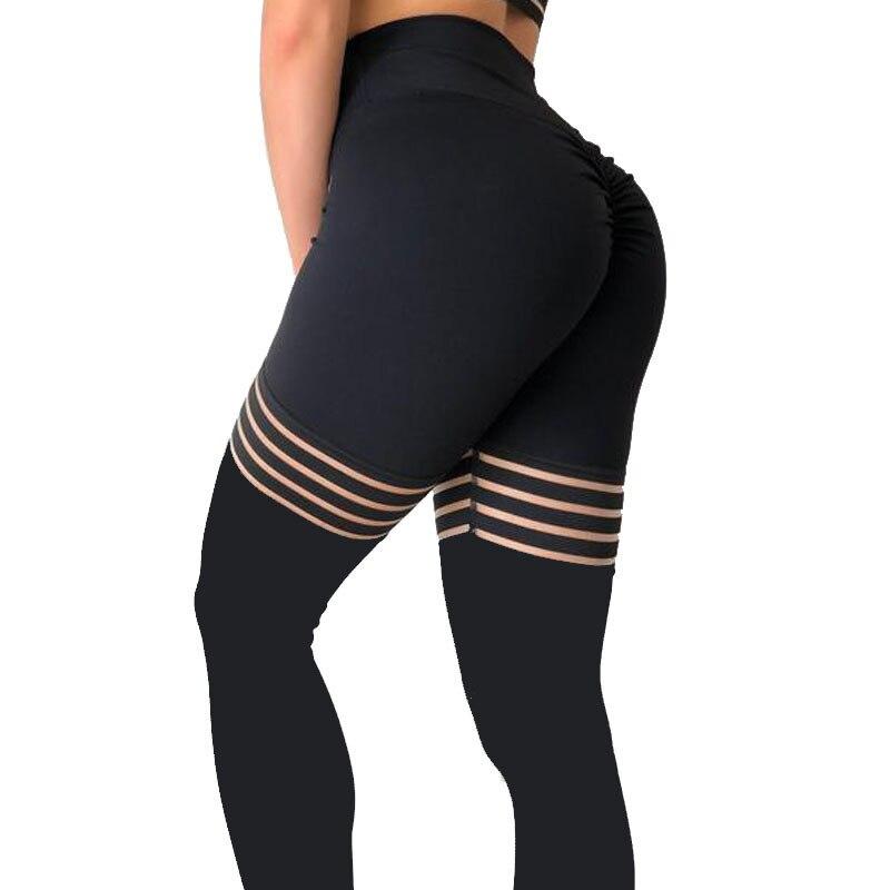 New Black Leggings Fitness Solid Sexy Mesh Patchwork Leggings High Waist Striped  Leggins Large Elasticity Jegging