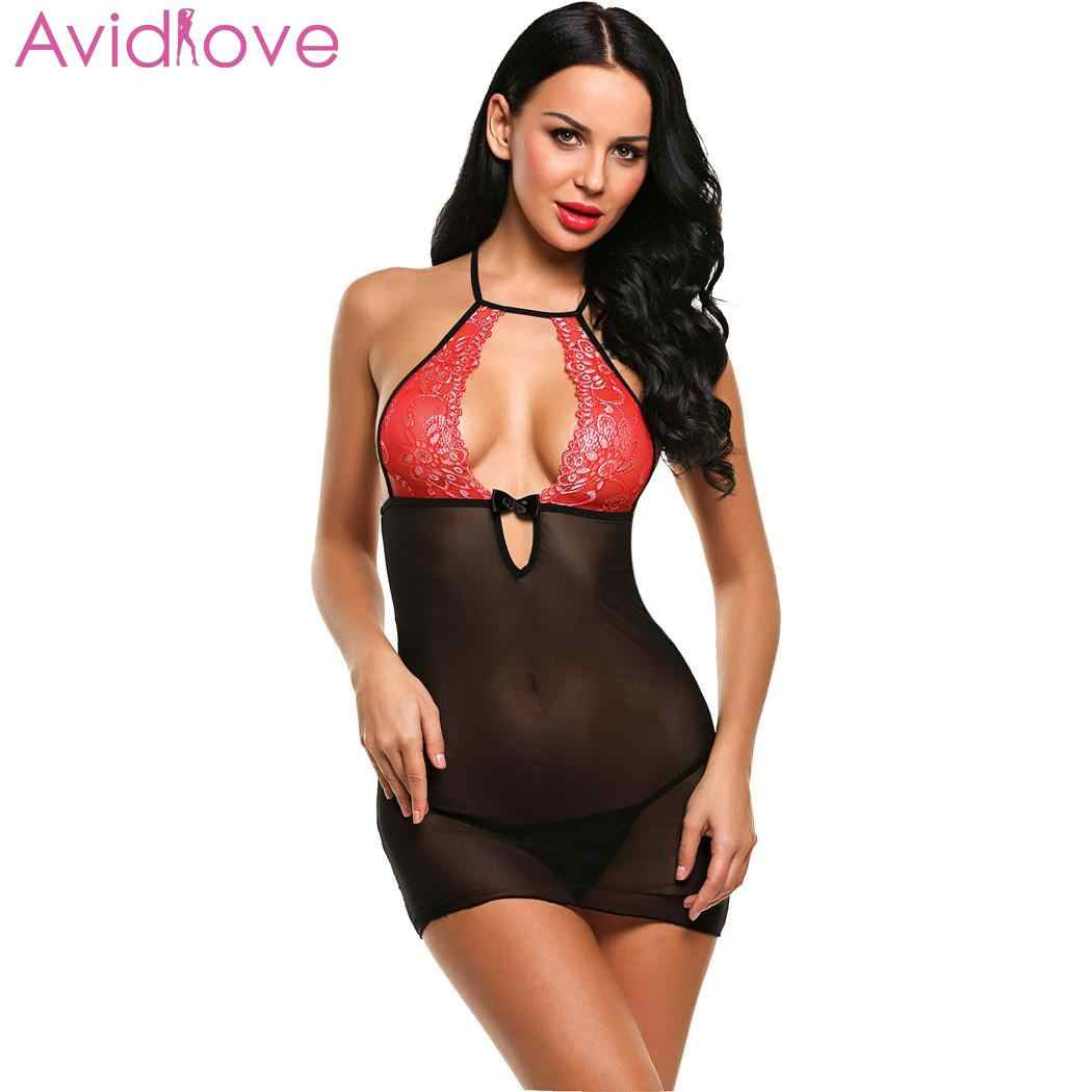 710e51723 ... Avidlove Women Sexy Underwear Sexy Lingerie Erotic Costumes Babydoll  Nightwear Patchwork Mini Hollow with G- ...