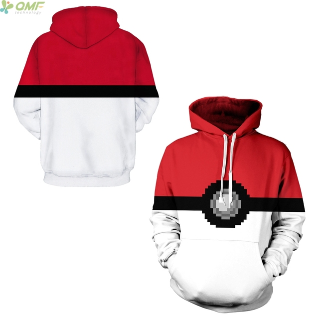 4563cb2f13c21 Red Pokeball Print Men Hoodies Hallowmas Cosplay Sweatshirts Cartoon Pokemon  Pikachu Hooded Tops Hoody Tracksuits M