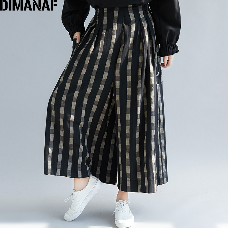 DIMANAF Plus Size Women   Wide     Leg     Pants   Autumn Linen Vintage Long   Pants   Plaid 2018 Oversized Elastic Waist Large Pantalones 5XL