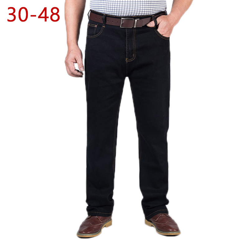 30-48 Big Size Classic Baggy Jeans For Men Spring Autumn Male Casual Stretch Straight Brand Zipper Business Black Denim Pants
