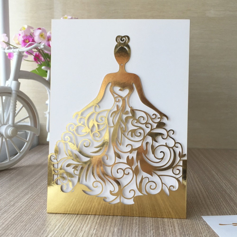 Wedding Invitations Business: Hot Sale Wedding Dress Card Metallic Gold Paper Made Of