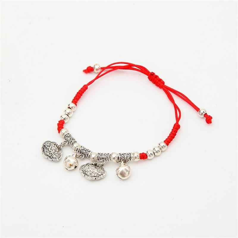 Meajoe Trendy Chinese Ethnic Jewelry Thin Red String Hand-woven Charm Bracelet Vintage Round Metal Chain Bracelets Jewelry Gift