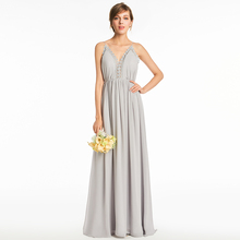 Tanpell spaghetti straps bridesmaid dress silver sleeveless floor length a line gown lady backless long custom