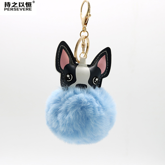 0bc6dbd8c4f PERSEVERE Faux Rabbit Fur Ball PU Leather Dog Keychain 2018 Fashion 8cm Pom  Pom Keychain Women Bag Charm Key Rings Jewelry Gift