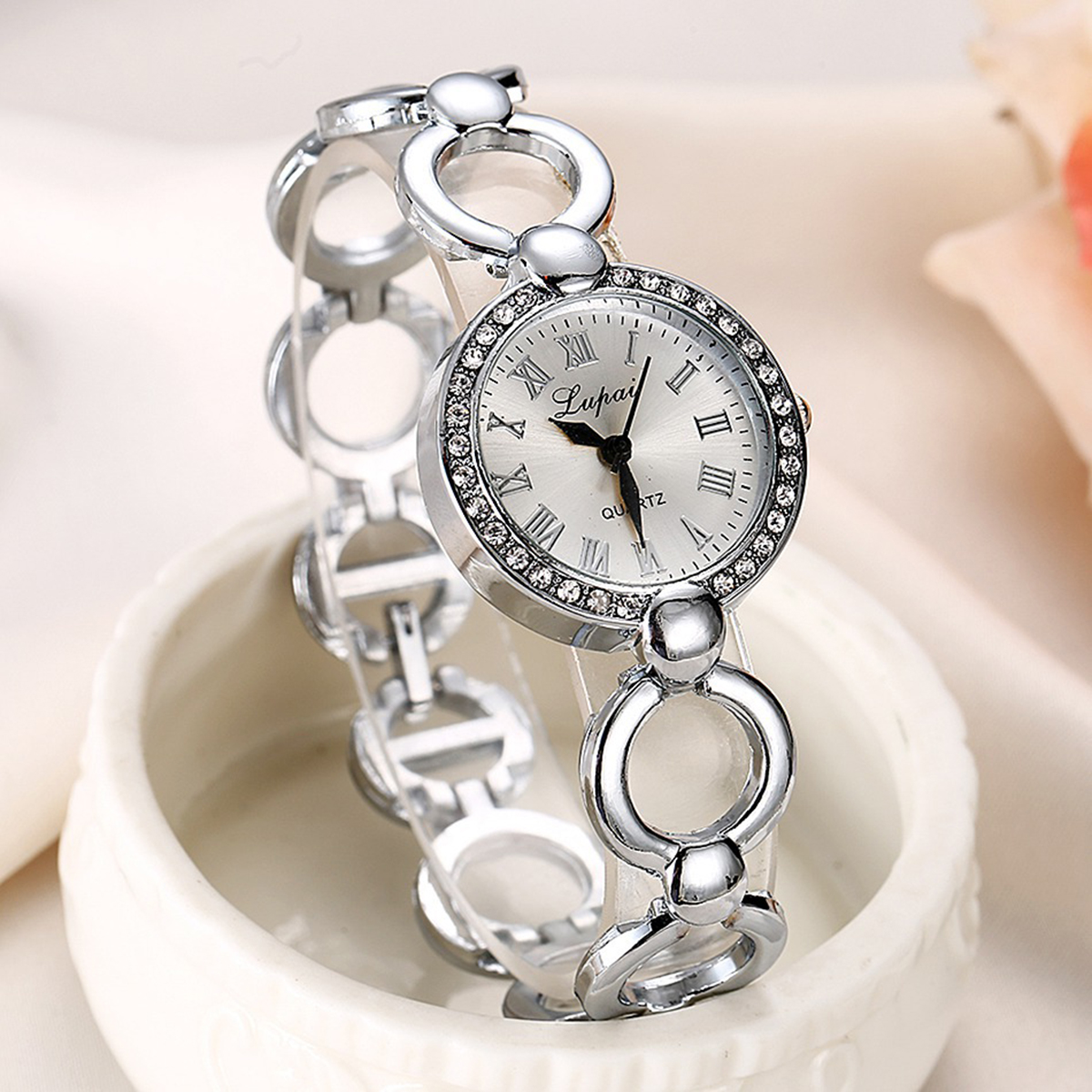 Fashion Women Lady Bling Stainless Steel Crystal Watch Elegant Luxury Analog Quartz Bracelet Wrist Watches Relogio Feminino mymei women luxury bracelet watch stainless steel analog quartz wrist watches
