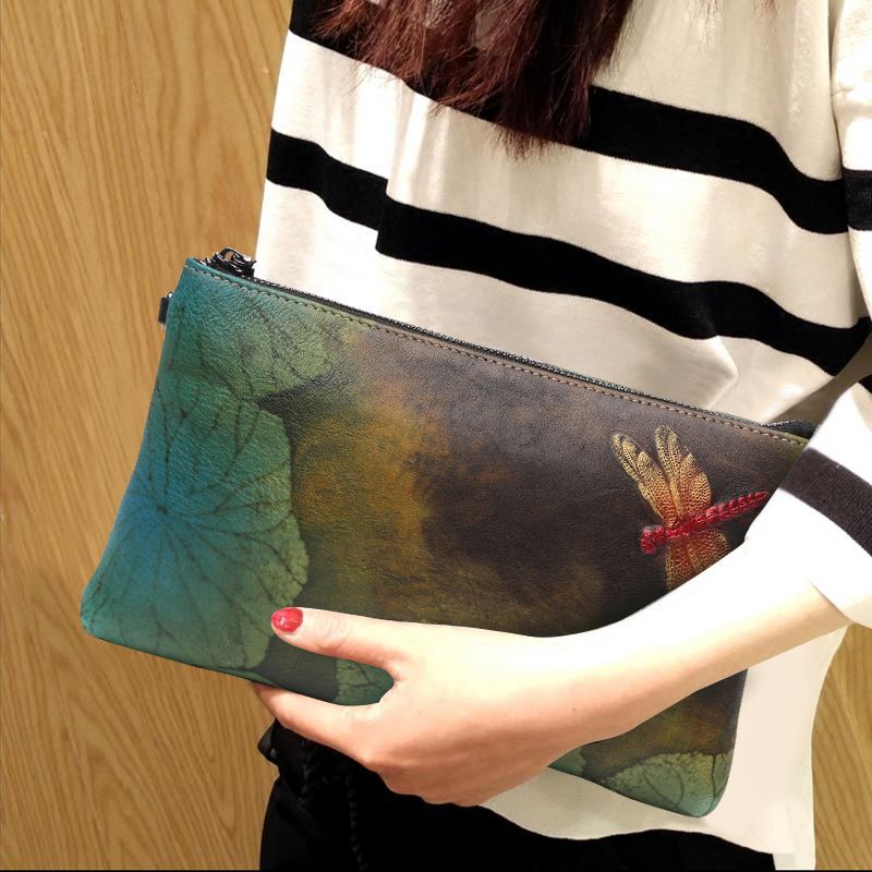 National Style Hand Painted Lotus Leaf Dragonfly Women Bag Soft Top Leather Zipper Vintage Clutch Wallet Shoulder Crossbody Bags