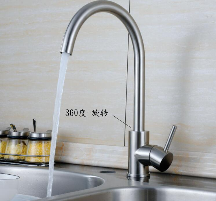 304stainless steel kitchen faucet Singlehole Vegetables dish faucet torneira Mixers 360degree rotation Unleaded taps sink Faucet