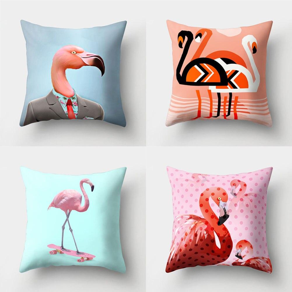 1pc Cute Flamingo Print Pillow Case Waist Throw Cushion Cover Bedroom Decor 45cm x 45cm