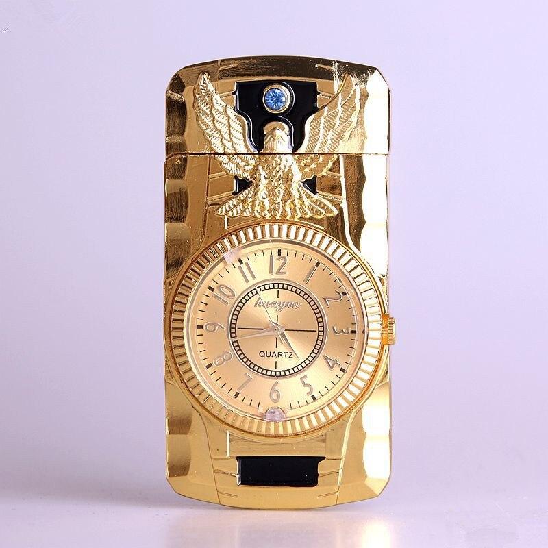 Butane Jet Lighter Clock Torch Lighter Men Gold Watch Quartz