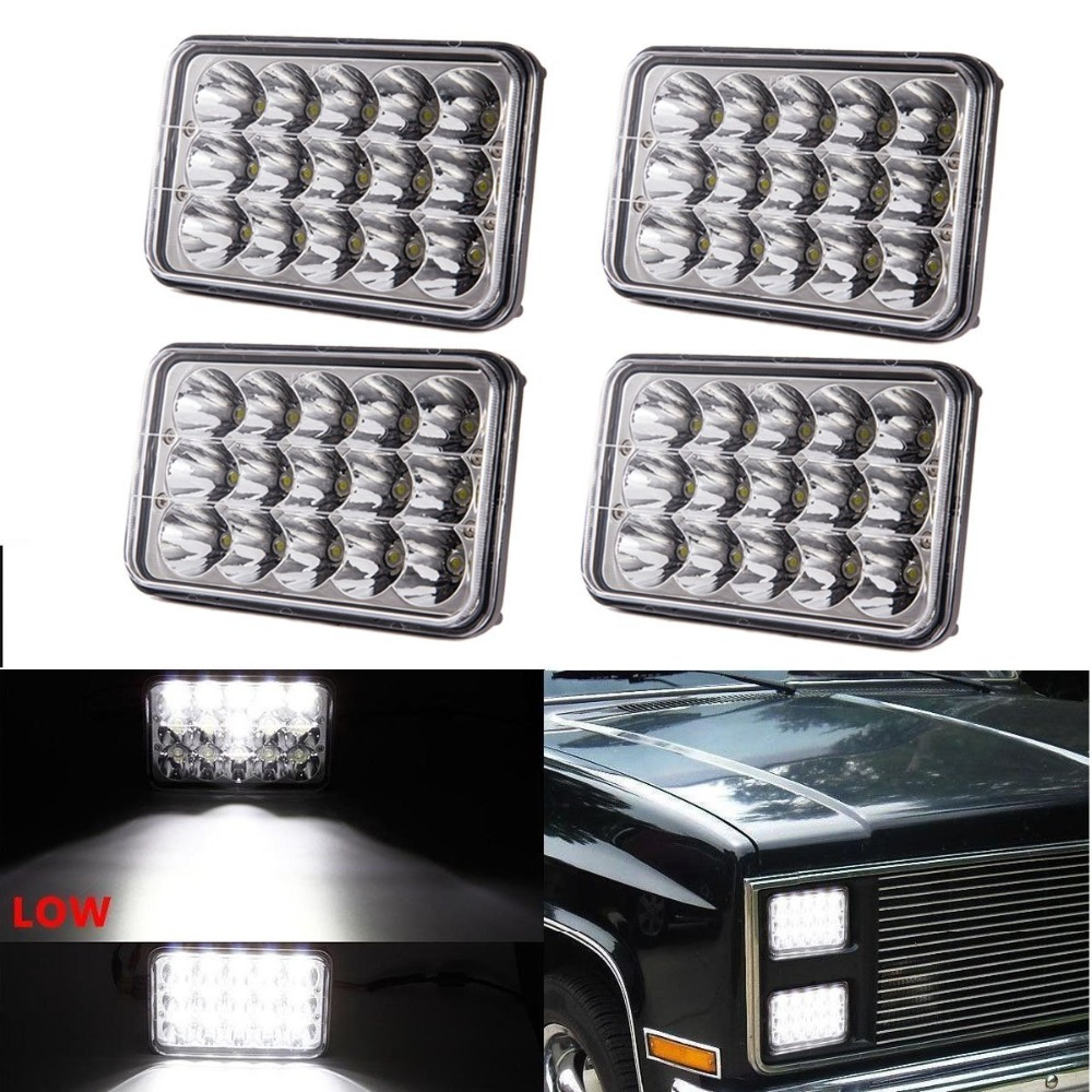 2 4 pcs Dot approved 4x6 inch LED Headlights Rectangular Replacement H4651 H4652 H4656 H4666