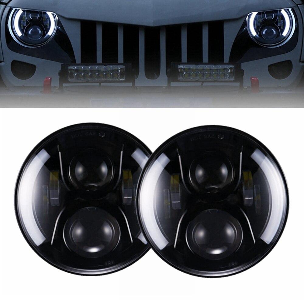 Yait 2pcs 7inch Round Led Headlight High Low Beam DC12v 24v Lights Headlamp For Wrangler Lada 4x4 urban Niva suzuki samurai
