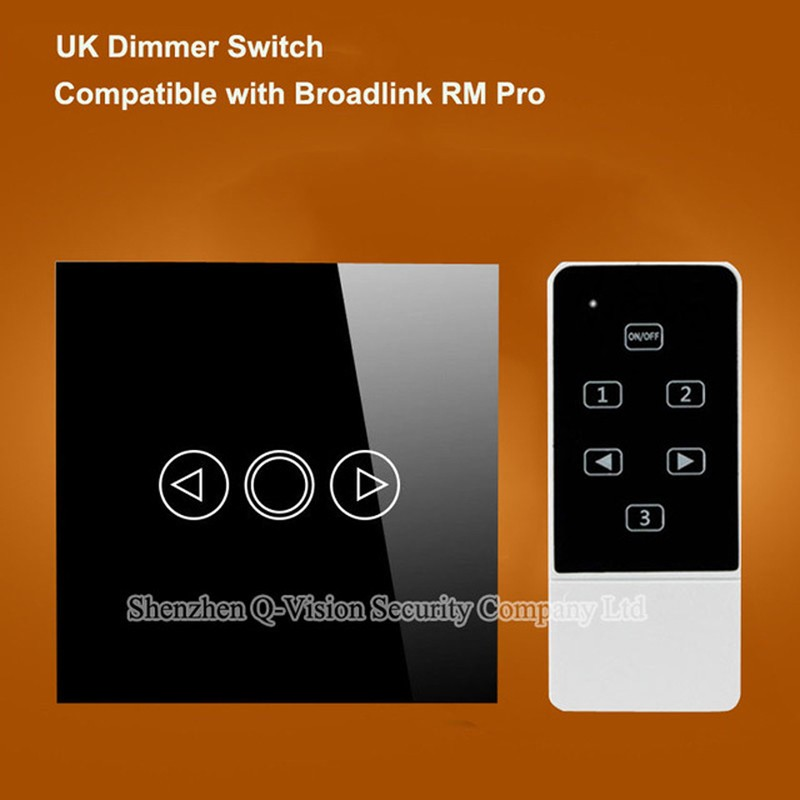 1---Smart Home Wireless UK 1 gang  Remote Control Wall Light Dimmer Switch Touch Luxury Glass for Broadlink RM2 RM Pro RF433MHZ