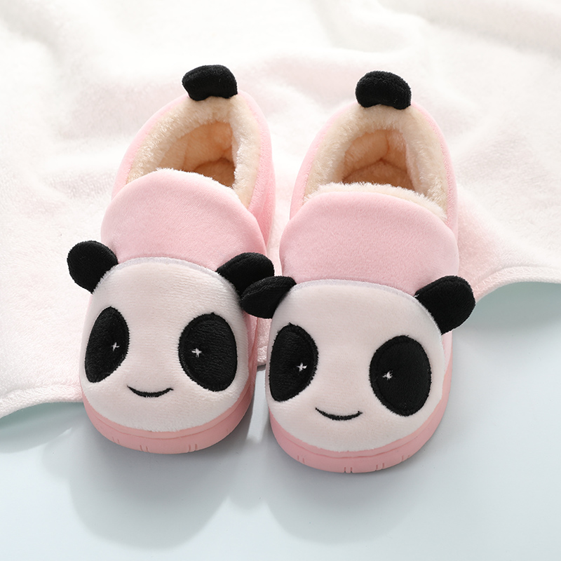 Baby Toddler Boys Girls Cartoon Animal Panda Home Slippers Little Kids Faux Fur Winter Warm Indoor Booties Children House Shoes