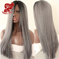 Cheap Straight Synthetic Lace Front Wig Glueless Heat Resistant Hair Wig Ombre Black Grey Wig Silk Straight Hair For Women