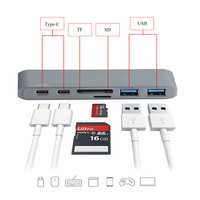 6 in1 USB C 3,0 Hub mit Typ C Hub Multifunktions Adapter Ladeanschluss SD/TF Kartenleser USB HUB Für Mac Pro Mac PC Laptop
