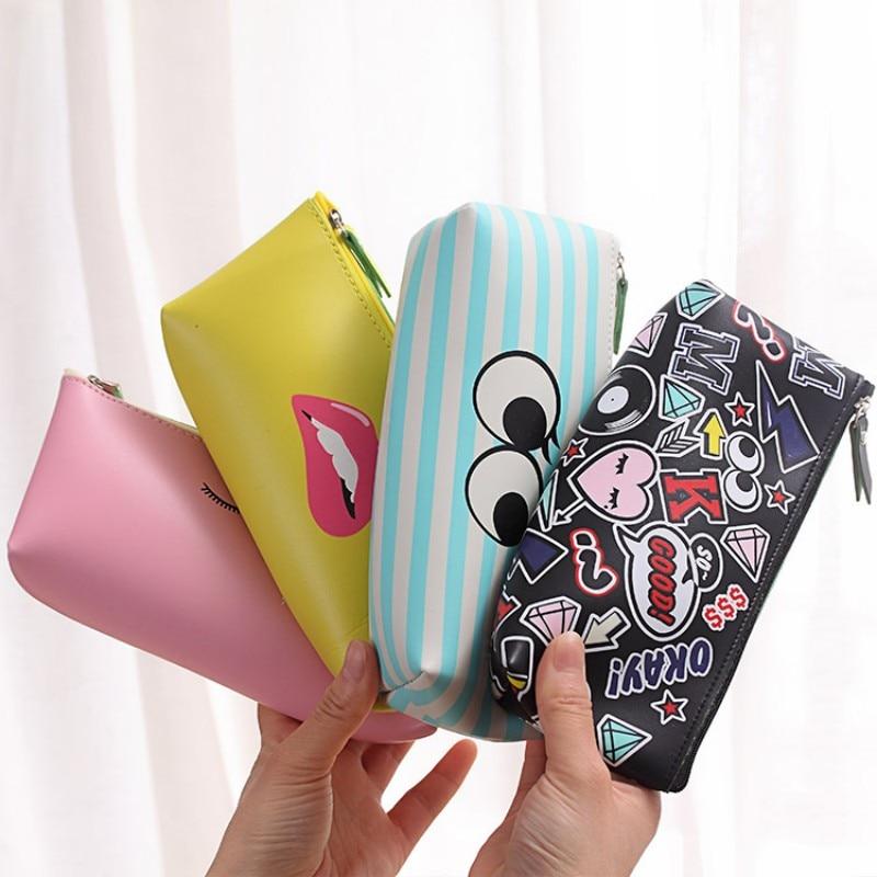 Cute Modern Girls School Pencil Case For Girl Kawaii PU Leather Lip Dot Pen Bag Stationery Pouch School Office Supply Escolar