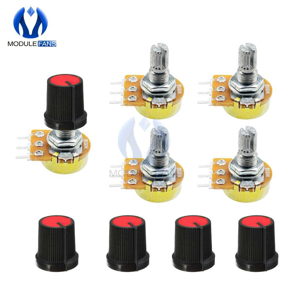 5PCS WH148 Rotary Potentiometer 1K 5K 10K 20K 50K 100K 500K Ohm Linear Taper 3P 3 Pin Potentiometer 3PIN For Arduino With Cap