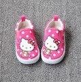 2017 Новый Hello Kitty/KT Cat Дети Холст Тапки, маленькая Девочка Красный Горошек, розовый Случайные Малыша Shoes, принцесса Впервые Уокер