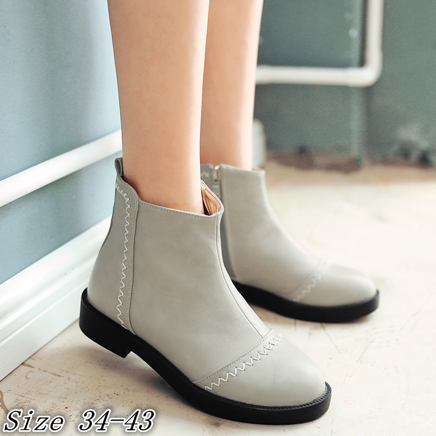 High Quality Spring Autumn Women Ankle Boots Casual Low Heel Shoes Woman Short Boots Plus Size 34-40,41,42,43 botas botte