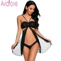Avidlove 2017 Brand Sleepwear Women Sexy Nightwear Halter Open Front Babydoll Lingerie Erotic Hollow Out Nightdress