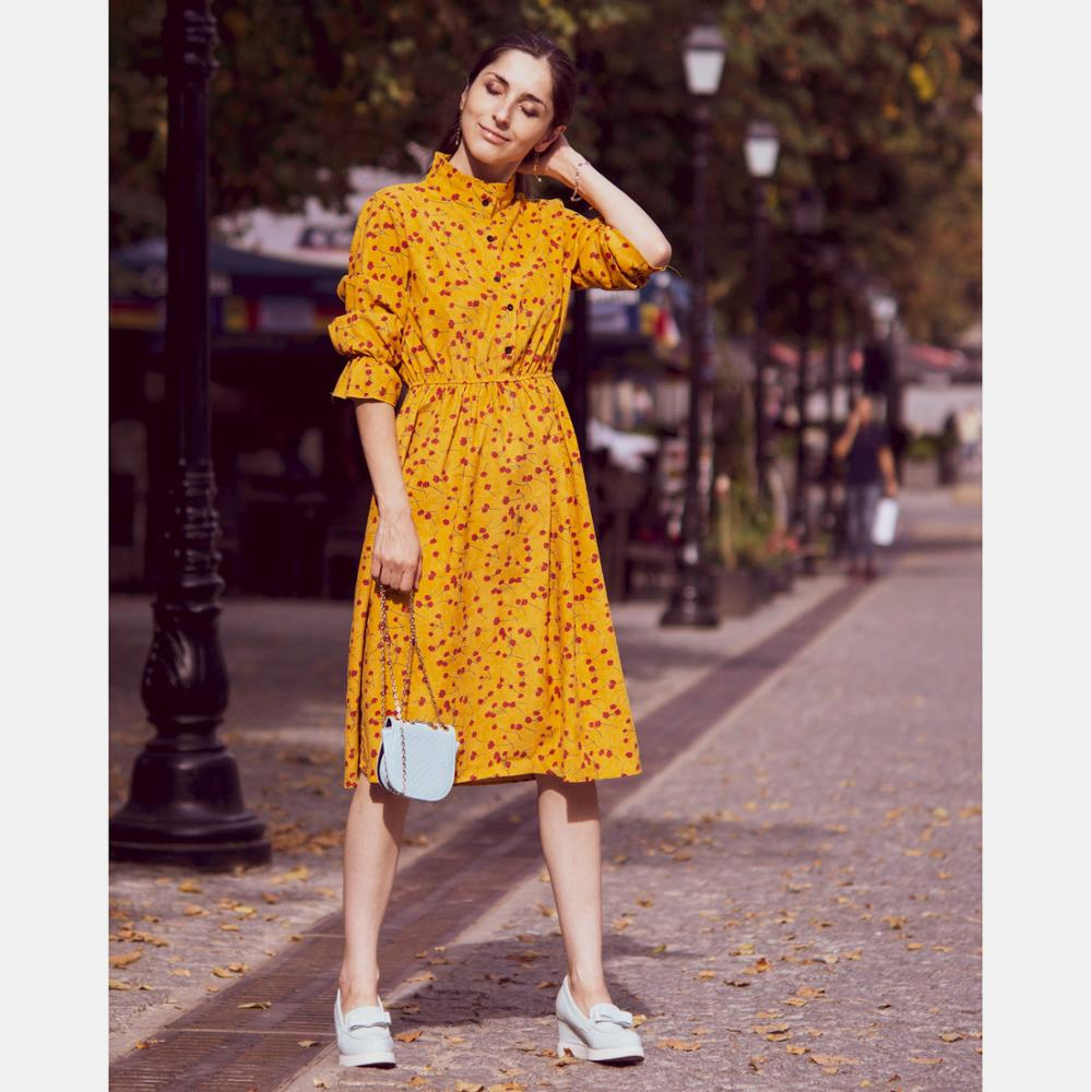 2019 Flora Ruffle Trimming Waist Dress Vestidos Elastic Women Dress Flare Sleeve A-line Style Women Full Sleeve Dress Dresses