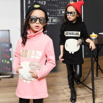 2018 New Spring Long Sleeve Kids Girls Tops With Velvet Cotton Kids T Shirt Girls Clothes Cheap Kids Clothes Girls Dress
