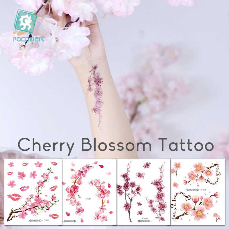 Rocooart Flores, tatuajes falsos Sakura, tatuajes adhesivos para el pecho, tatuaje a prueba de agua, tatuaje de flor de cerezo para mujer, tatuaje para arte corporal