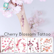 Rocooart Flowers Fake Tattoos Sakura Tattoo Stickers Chest Taty Waterproof Tatoo Cherry Blossom Tatto For Women Tattoo Body Art(China)