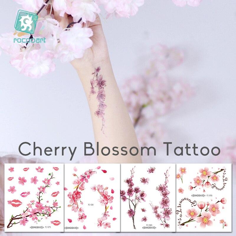 Rocooart flores tatuagens falsas sakura tatuagem adesivos peito taty à prova dtatágua tatoo flor de cerejeira tatto para mulher tatuagem arte do corpo