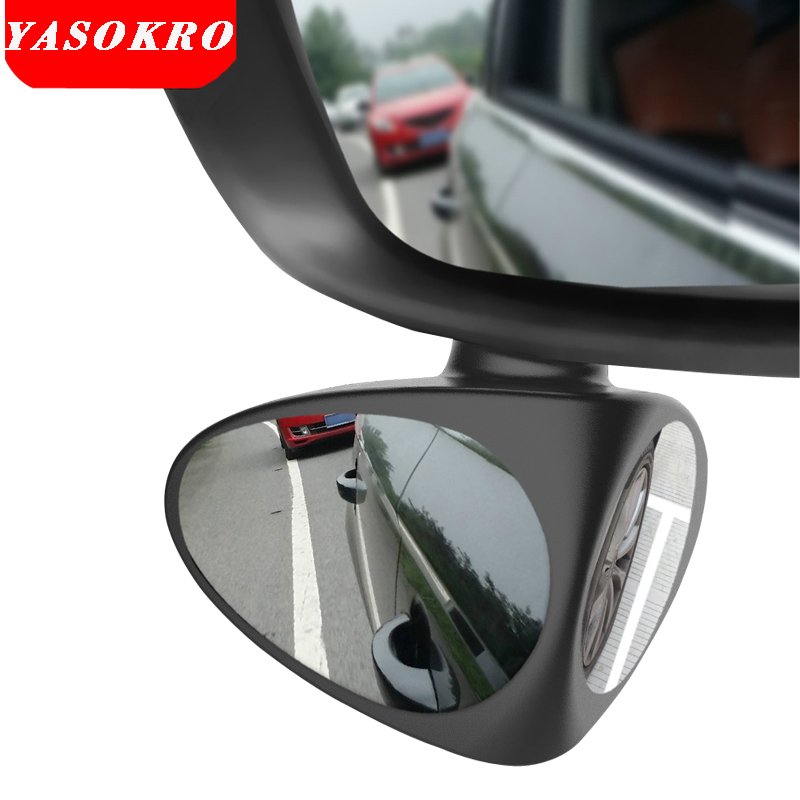 YASOKRO Car Blind Spot Mirror Wide Angle Mirror 360 Rotation Adjustable Convex Rear View Mirror for Safety Parking Car mirror 2 in 1 car blind spot mirror wide angle mirror 360 rotation adjustable convex rear view mirror view front wheel car mirror