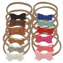 12Pcs/lot 2018 New Glitter Leather Bow HairBands with Boutique Bowknot Elastic Band for Girls Gift kids Hair Accessories 521