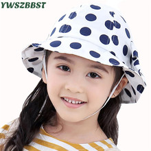 купить 2019 New Spring Summer Baby Girls Sun Hat Dot Children Bucket Hats Cotton Baby Hat Kids Beach Cap Brim Girls Sun Cap дешево