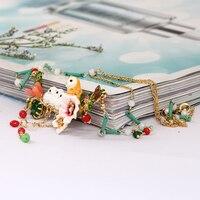 Francja Romantyczne Ozdoby Snowy Emalia Sowa Niemowląt Kryształ Frędzle Naszyjnik Stop Miedzi Złota Naprawdę Plated Kobiety Biżuteria