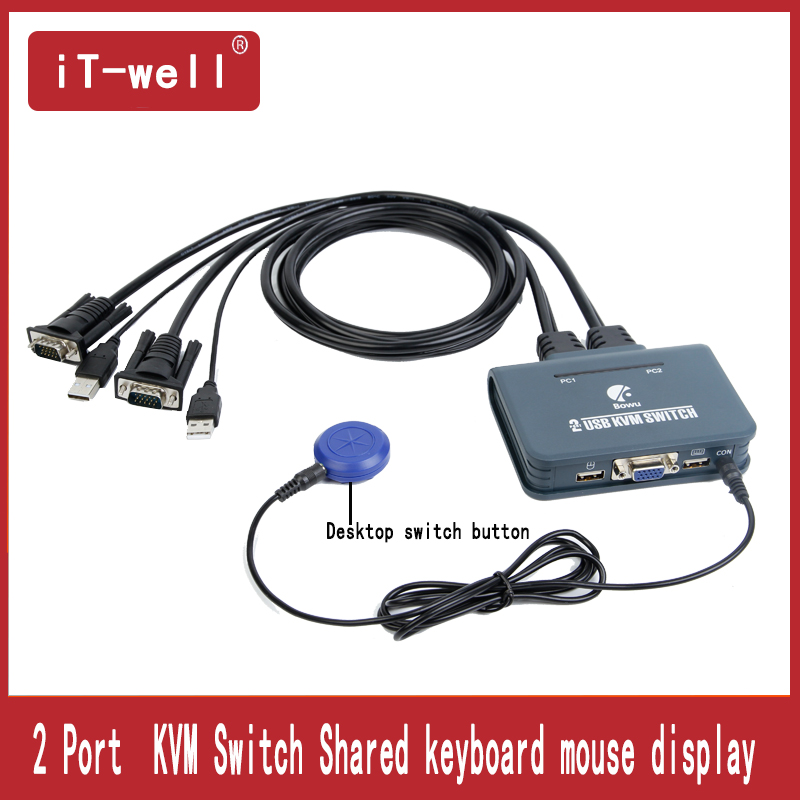 Kvm Switch 2 Port USB VGA Switcher With Cable For Dual Monitor Keyboard Mouse VGA Switch Support Desktop Controller Switching