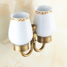 Wall Mounted Antique Brass Double Cup Holder Toothbrush Holder with Two Ceramic Cup Rack Tumbler Holder ZD931 luxury brush tumbler ceramic cup holder antique bronze single toothbrush holder wall mounted ceramic bathroom accessories
