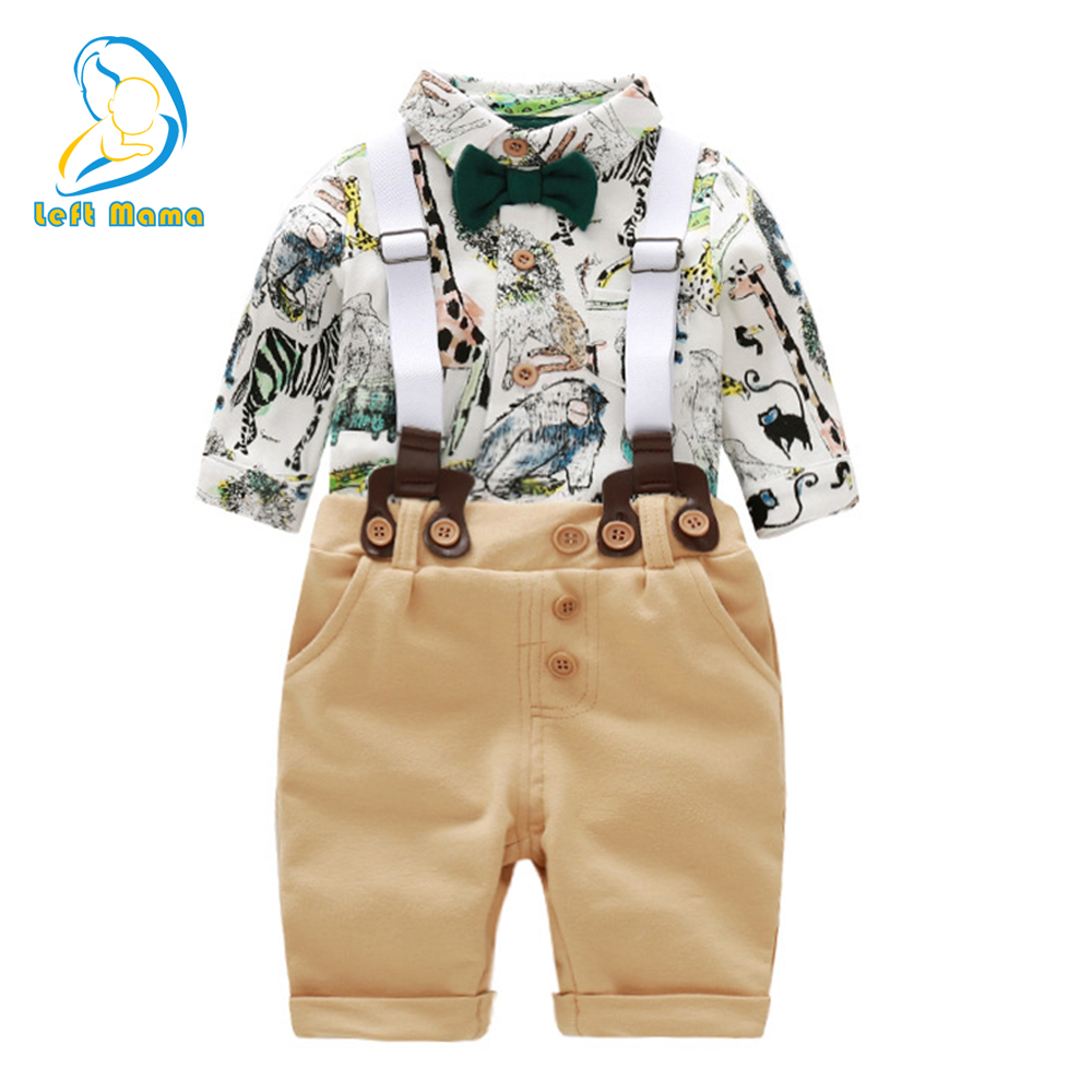 Newborn Baby Boy Clothes Long Sleeve Suit Infant Clothes Gentleman Animals Print Romper + Overalls Autumn Toddler Boy Clothes 3pcs set newborn infant baby boy girl clothes 2017 summer short sleeve leopard floral romper bodysuit headband shoes outfits