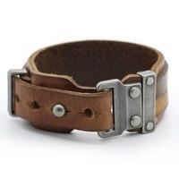 Vintage Mens Cowhide Cool Wristband 2 5cm Width Rock Punk Charm Bracelet Women Stainless Steel Buckle
