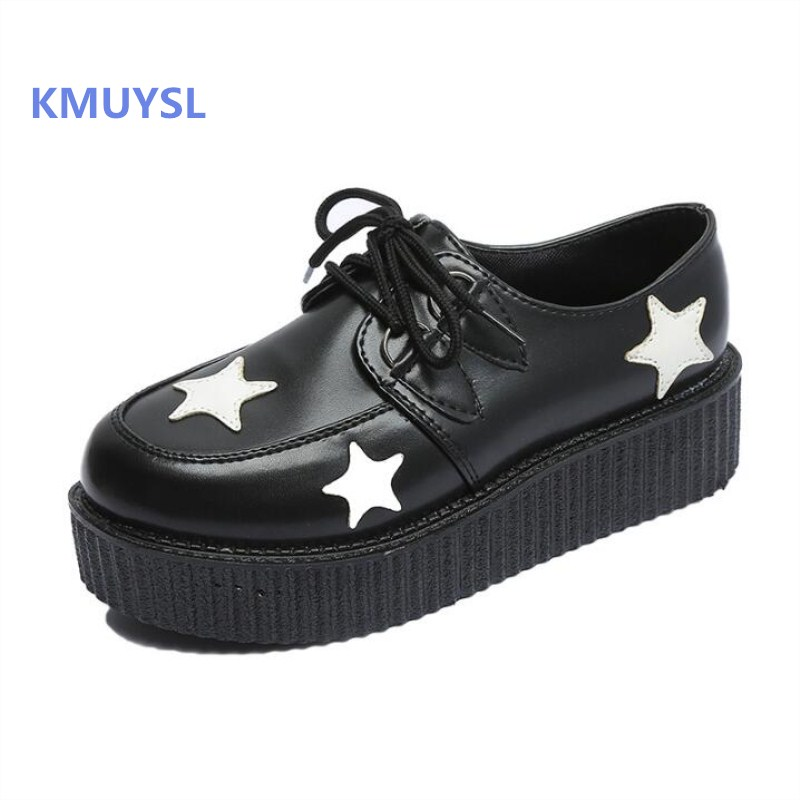 Women Heavy-bottomed Platform Shoes 2018 New Woman Shoes muffin Creepers Flats Lace Up Creepers Women Casual Shoes Plus Size стоимость