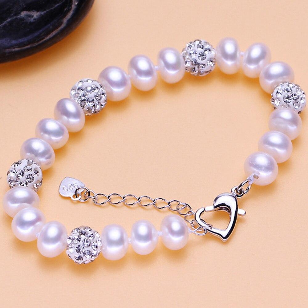 Elegant 8-9mm Freshwater pearl bracelet for women 925 silver jewlery girl birthday gifts drop shipping