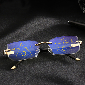 Image 2 - SOOLALA Rimless Progressive Glasses Multifocal Reading Eyeglasses Anti Blue Light Glasses Diamond Cutting Presbyopic Spectacles