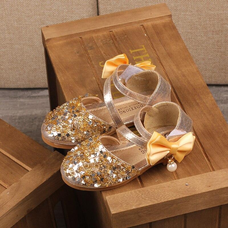 H2231 automne nouveaux enfants en cuir chaussures décontracté filles princesse talon plat chaussures de fête de mode paillettes arc perle enfants chaussures - 5