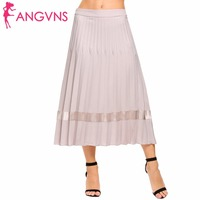 ANGVNS Women High Waist Ankle Long Pleated Skirt Solid Slim Casual Party