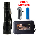 CREE LED Flashlight LED CREE Torch lamp CREE XM-L T6 6000Lumens Flashlights Zoomable Aluminum CREE LED Torch for 18650 Battery