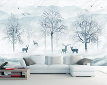 Beibehang Custom wallpaper Nordic abstract forest Elk TV background wall 3d living room bedroom decorative mural 3d wallpaper beibehang large custom wallpaper mathematical formula blackboard mural tv background living room wall decorative